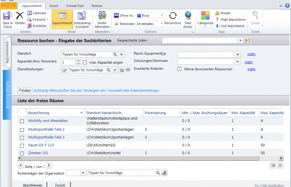 Integration outlook screenshot