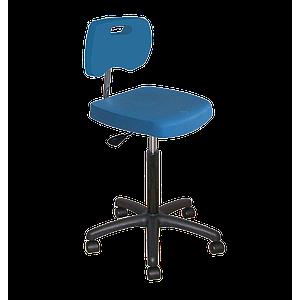 Chaise bleue haute polyuréthane confort à roulettes avec piétement polyamide - Kango