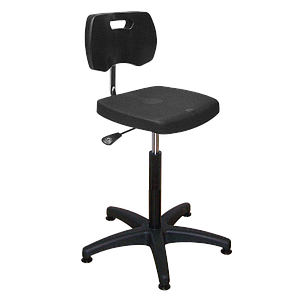 Chaise noire haute polyuréthane confort à patins avec piétement polyamide - Kango