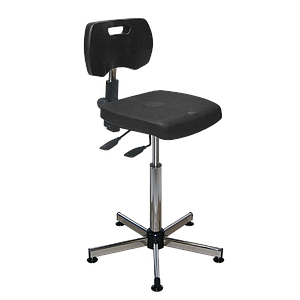 Chaise noire polyuréthane confort asynchrone haute avec patins - Kango