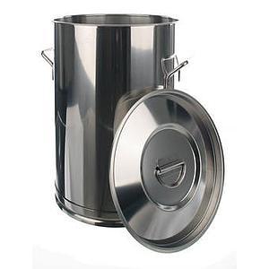 Conteneur inox à poignées avec couvercle - 100 litres