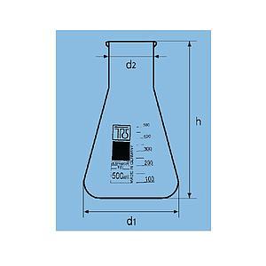 Fiole Erlenmeyer col large - 500 ml - TGI