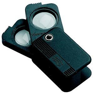 Loupe pliante de poche à double optique - x7 + x8 = x15