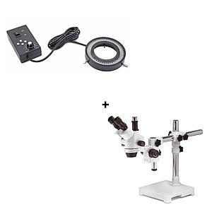 Pack promo : Microscope trinoculaire SZM-4 + éclairage LED - Optika