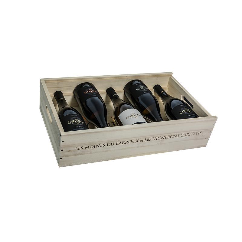 Via Caritatis *caisse bois* / 1 Abbayes 2 Lux rouges+1 Lux rosé+1 Lux blanc