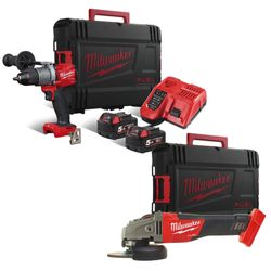 Milwaukee - Pack visseuse + meuleuse dia 125mm m18fpd-502x + m18cag125x-0x