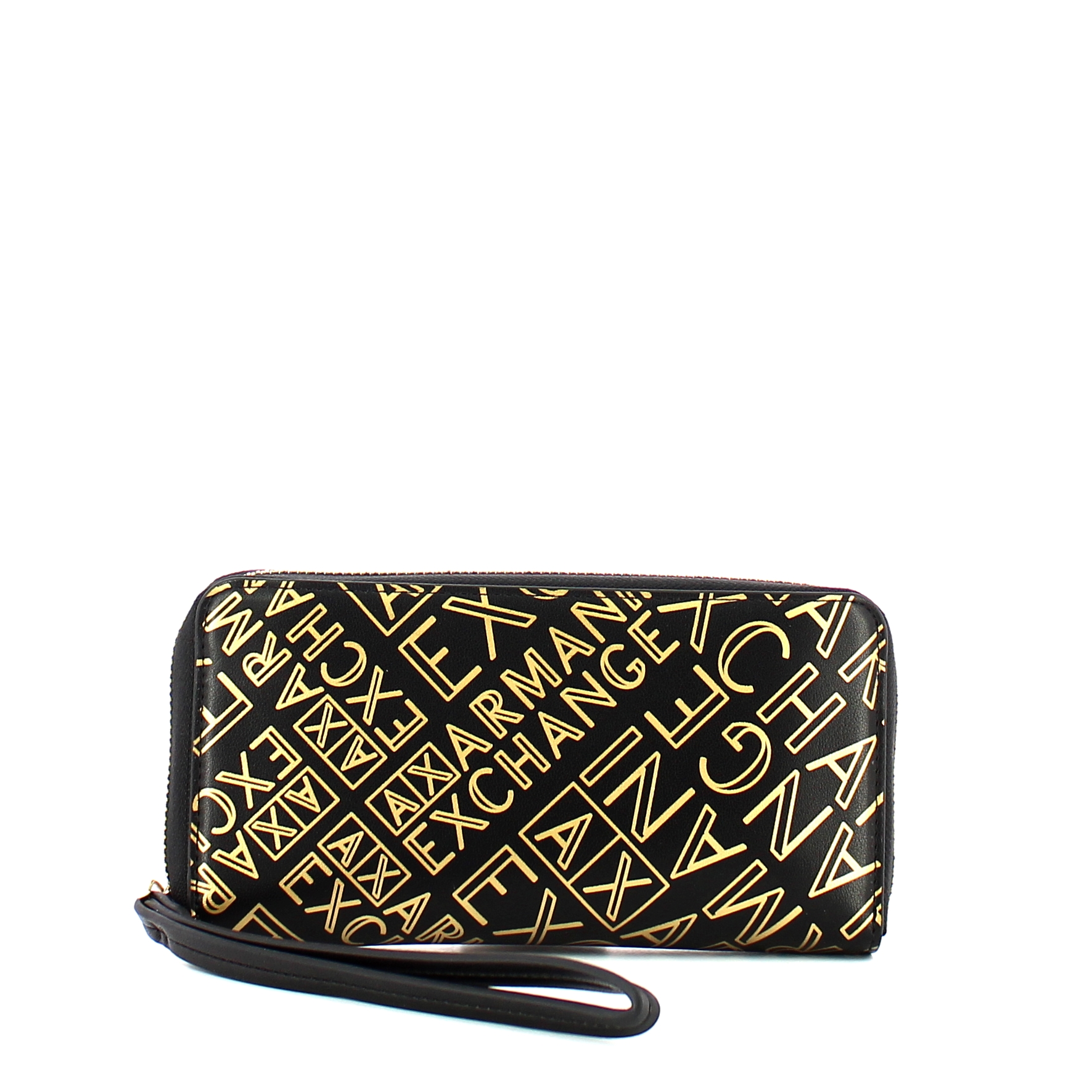 Exchange Zip Donna Black Around Logo Armani gold Portafoglio xwgZqXx