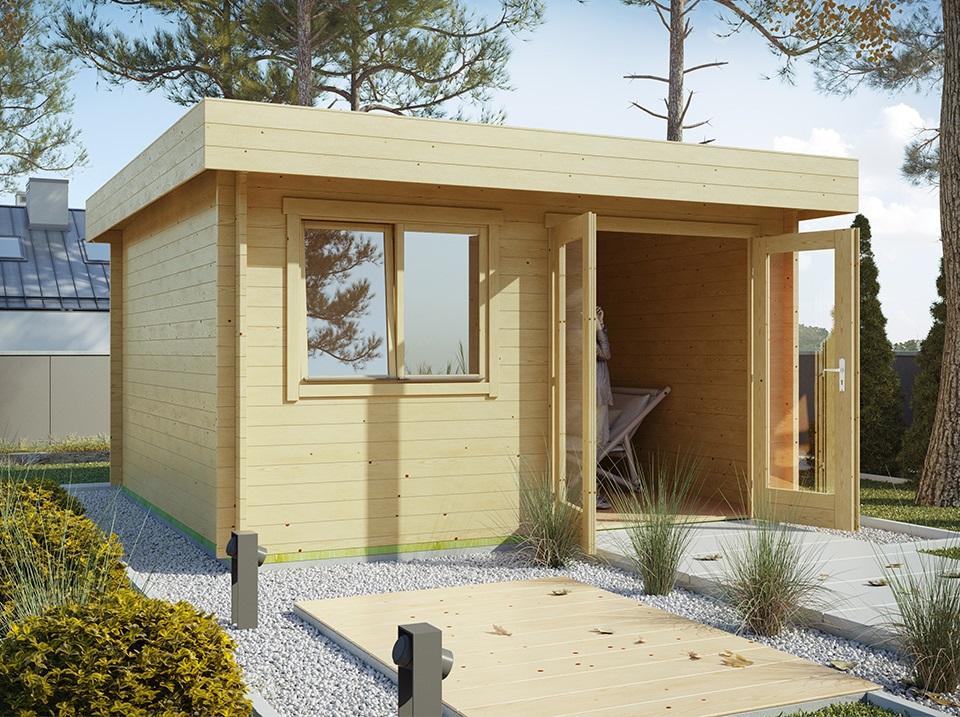 abri bois 16 m2 toit plat