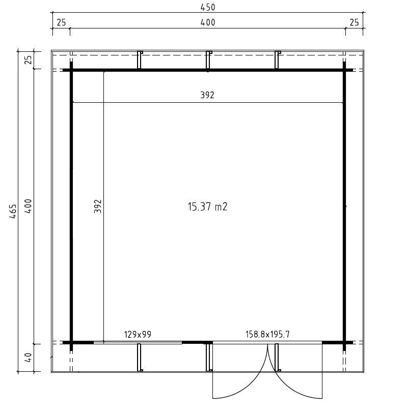 plan abri toit plat 16 m2