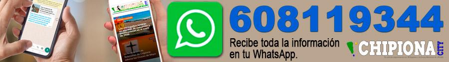 Guarda este número en tu móvil con el nombre Chipiona City y envía un whatsapp con el texto 'Chipiona' para seguir informado de todo lo que pasa en Chipiona