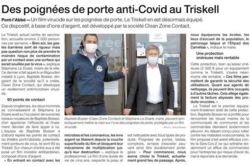 Article Ouest France film antimicrobien Pont-L'Abbé