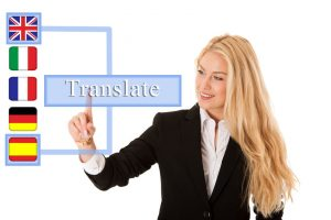 business woman pressing virtual button isolated over white
