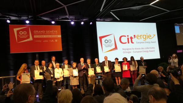 Remise des labels Cit'ergie à Genève en Suisse.