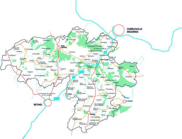 Carte du territoire des Crêtes Préardennaises