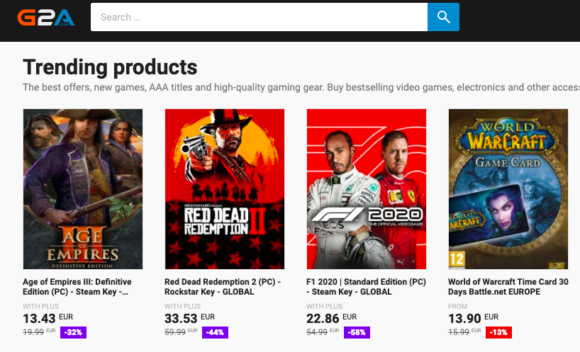 G2A discounted games