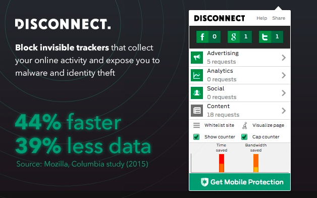 Chrome add-on Disconnect block internet tracking