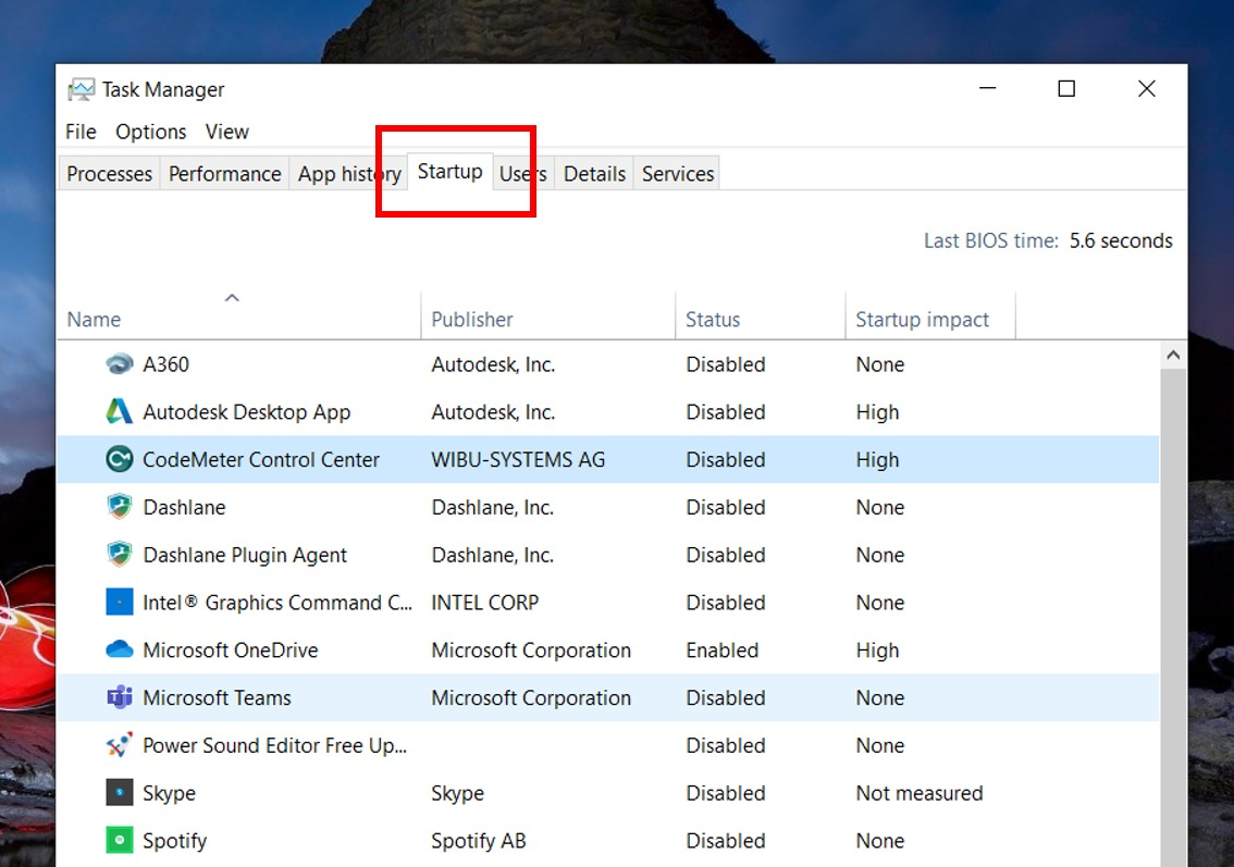 Remove apps from startup in Task Manager