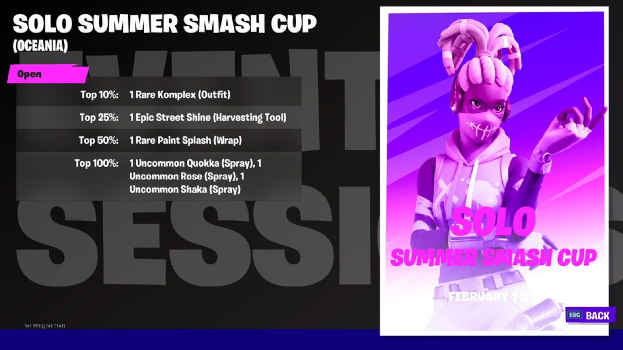 Fortnite recompensas de la Summer Smash Cup