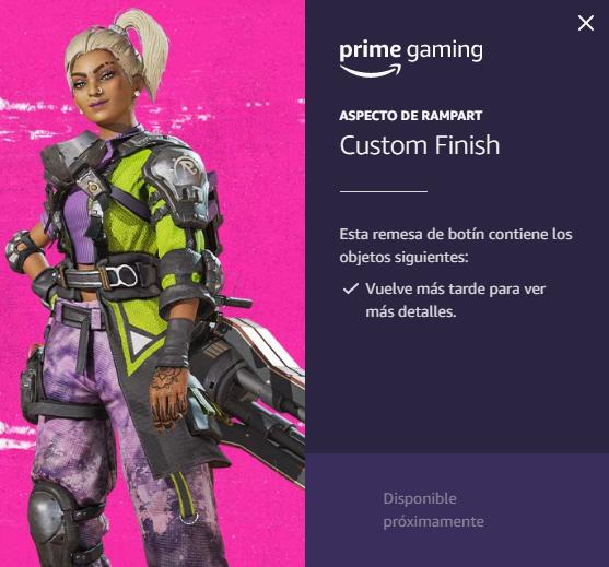 Skin Rampart Prime Gaming Apex Legends