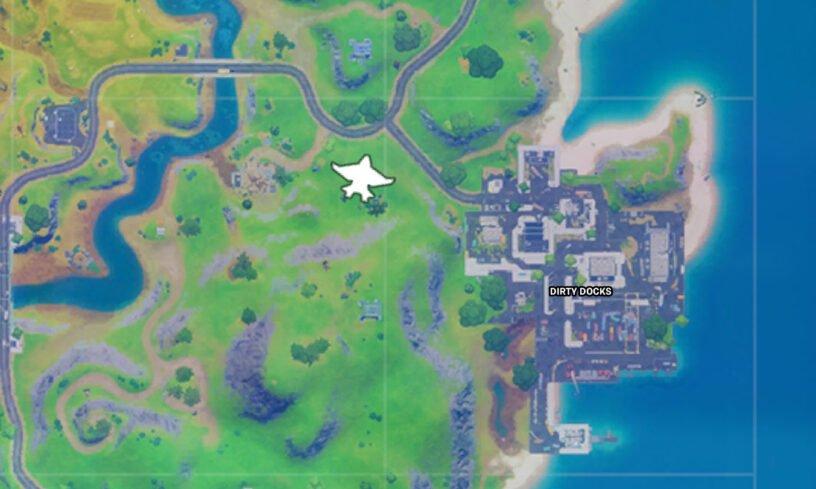 Mapa con la localización del quinjet en Fortnite