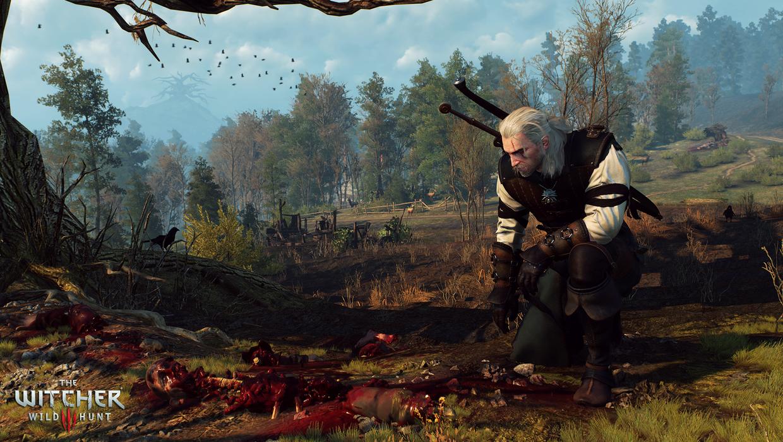 Geralt arrodillado ante la mancha de sangre en witcher 3
