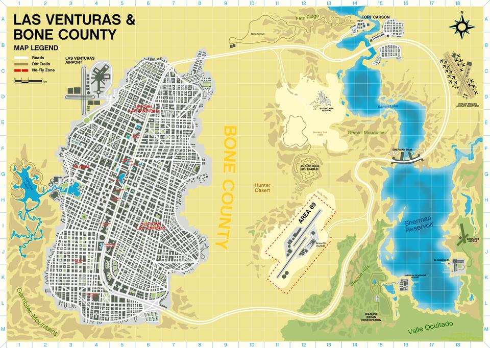 Concepto de mapa de Las Venturas en GTA 6