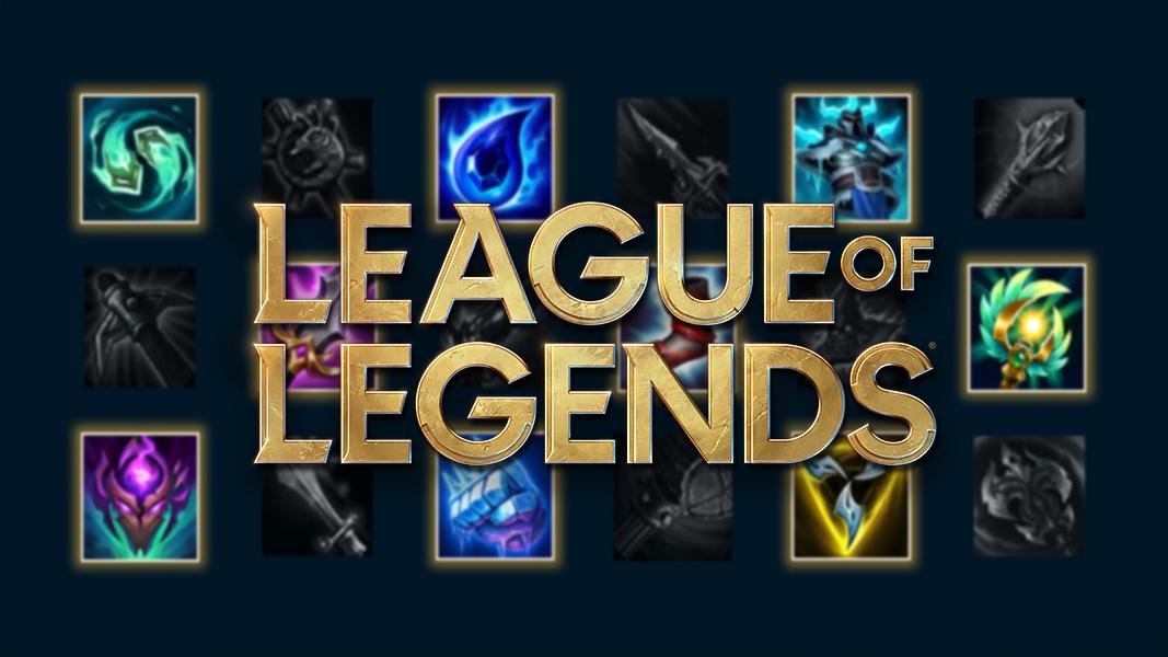 Logo de League of Legends sobre objetos