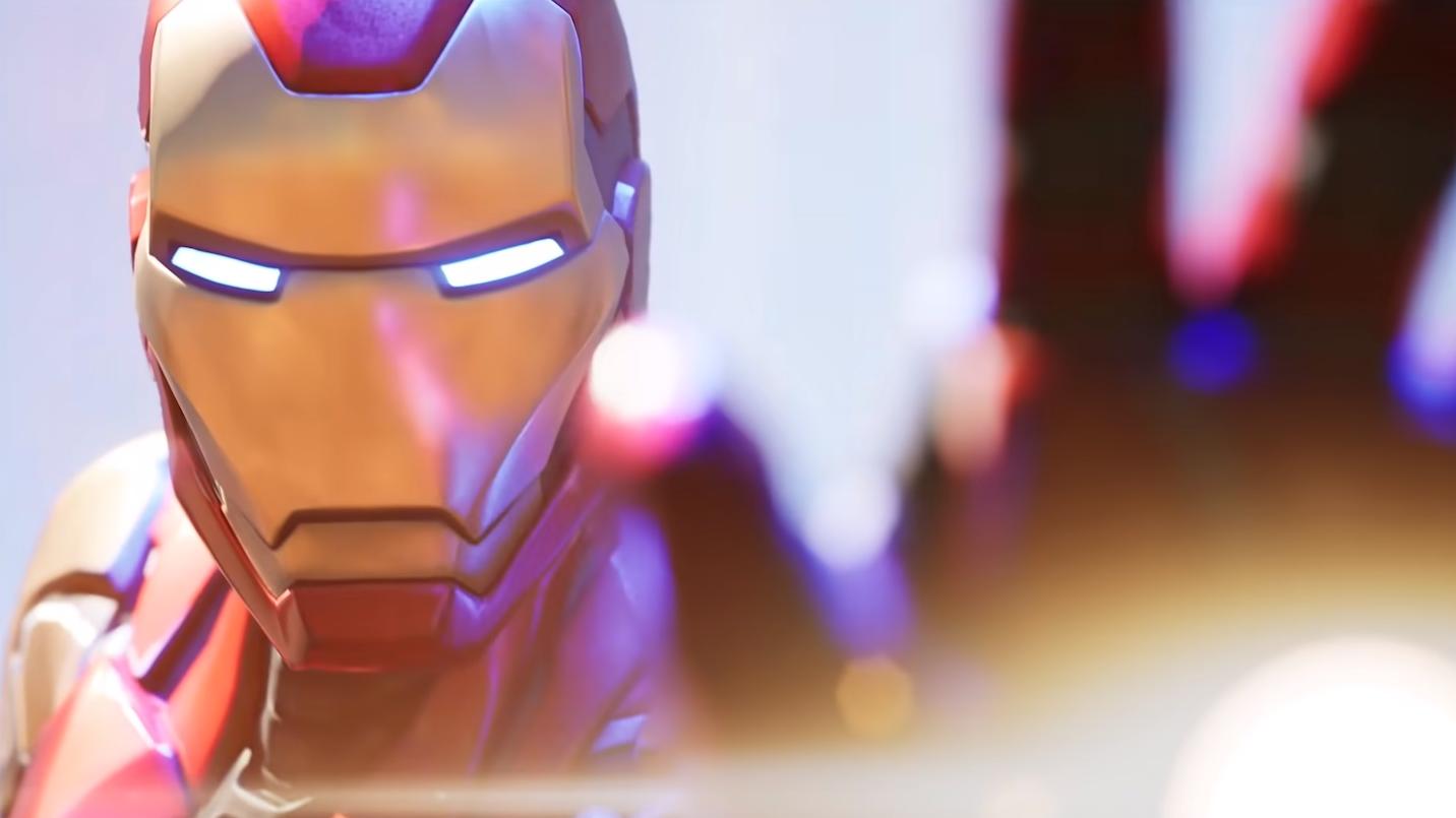 Iron Man usando los repulsores en Fortnite