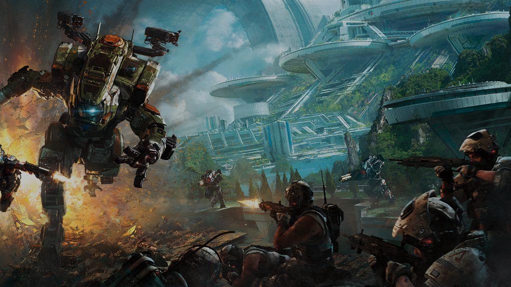 Personas luchando contra titanes en Titanfall