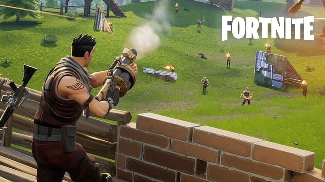 Personaje de Fortnite disparando un lanzagranadas.