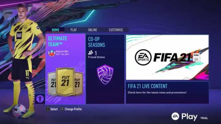 Menu de FUT en FIFA 21