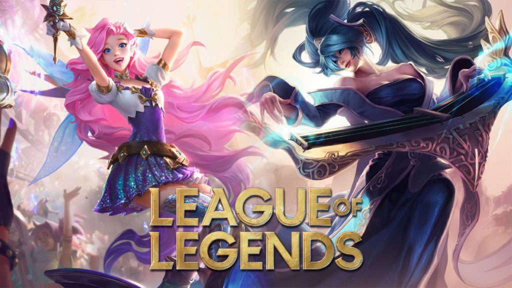 Seraphine y Sona con el logo de League of Legends