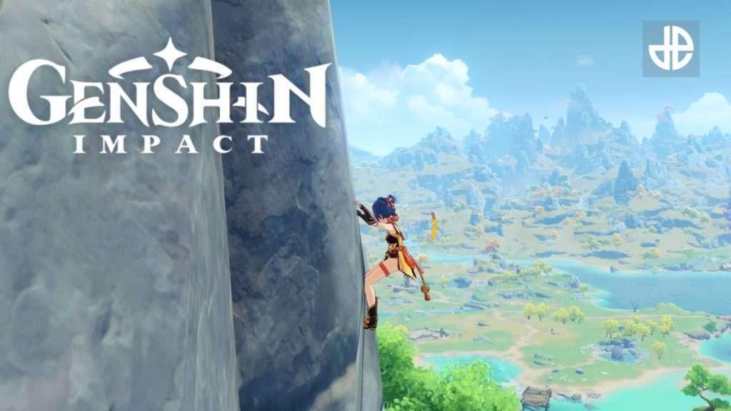 Personaje escalando acantilado en Genshin Impact