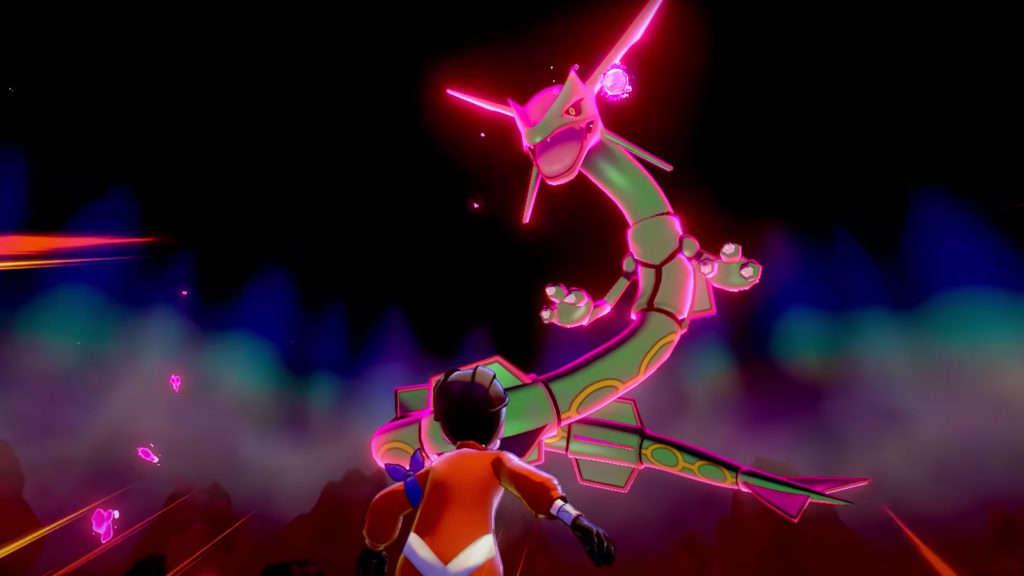 rayquaza en incursión de Pokémon espada y escudo