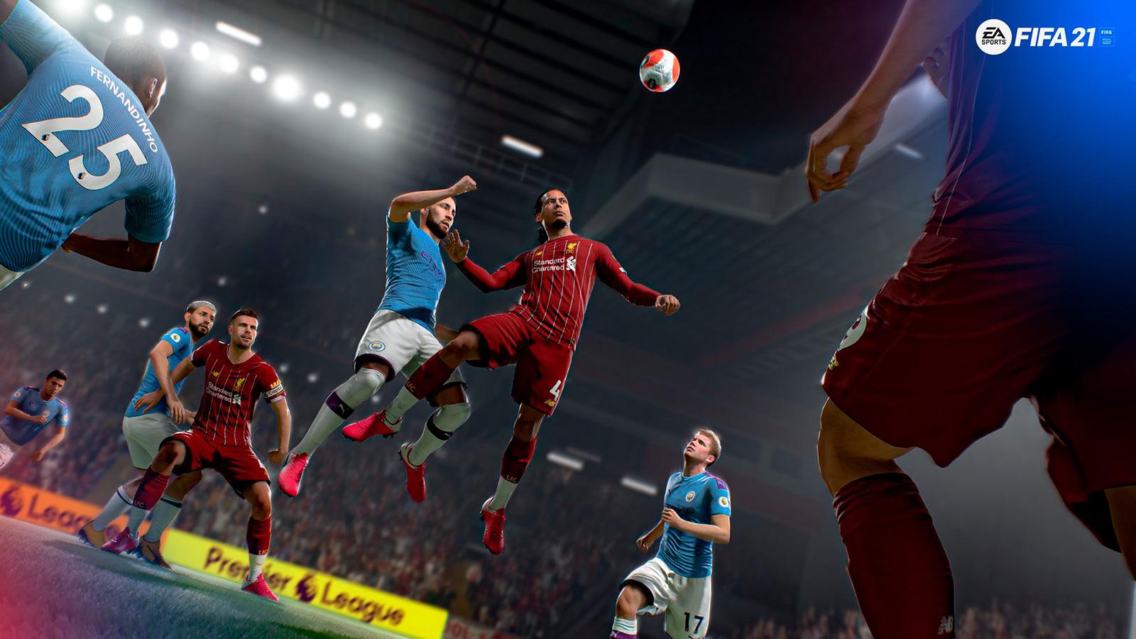 Jugadores de FIFA 21 saltando