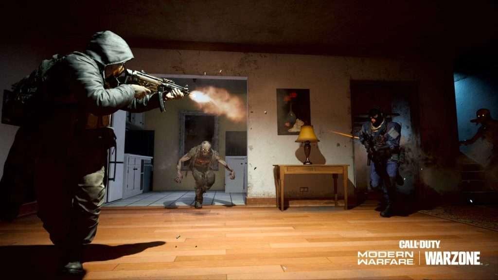 Operador de Warzone luchando contra un zombie