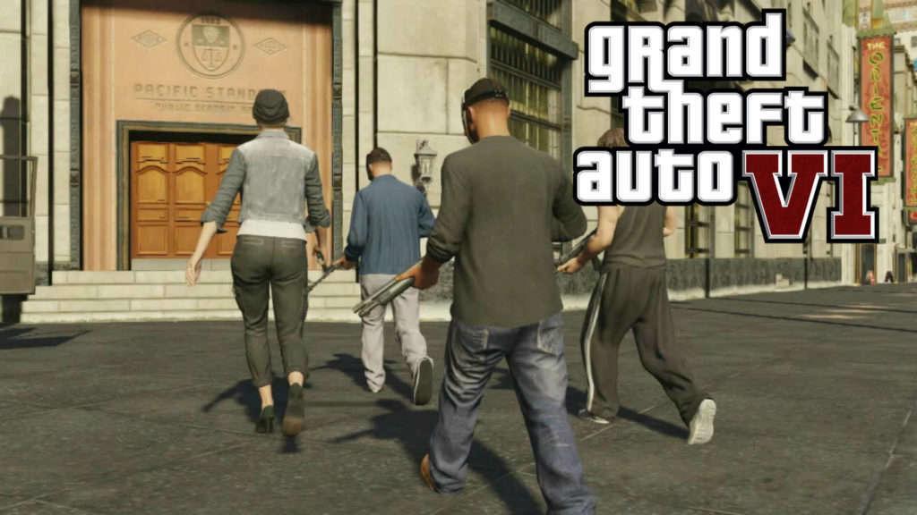 Personajes con el banco de fondo y logo de GTA 6