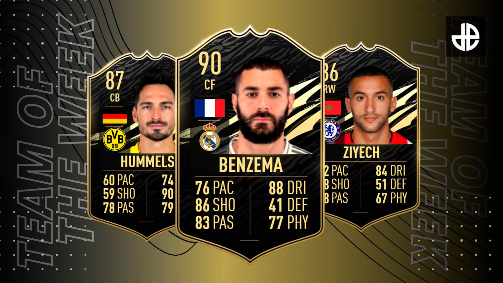 Benzema, Hummels y Ziyech en el TOTW 6 de FIFA 21
