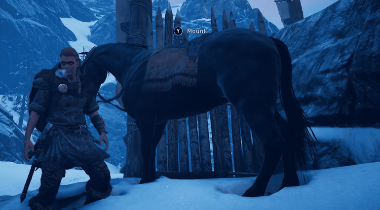 Eivor con un caballo en Assassíns´s Creed Valhalla