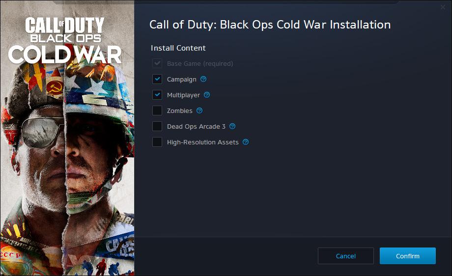 Opciones de instalación de Black Ops Cold War en Battle.Net