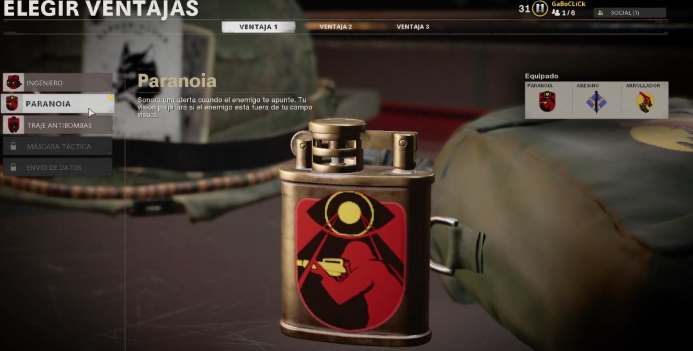 Ventaja Paranoia Black Ops Cold War