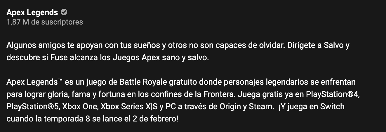 Descripción Apex Legends YouTube