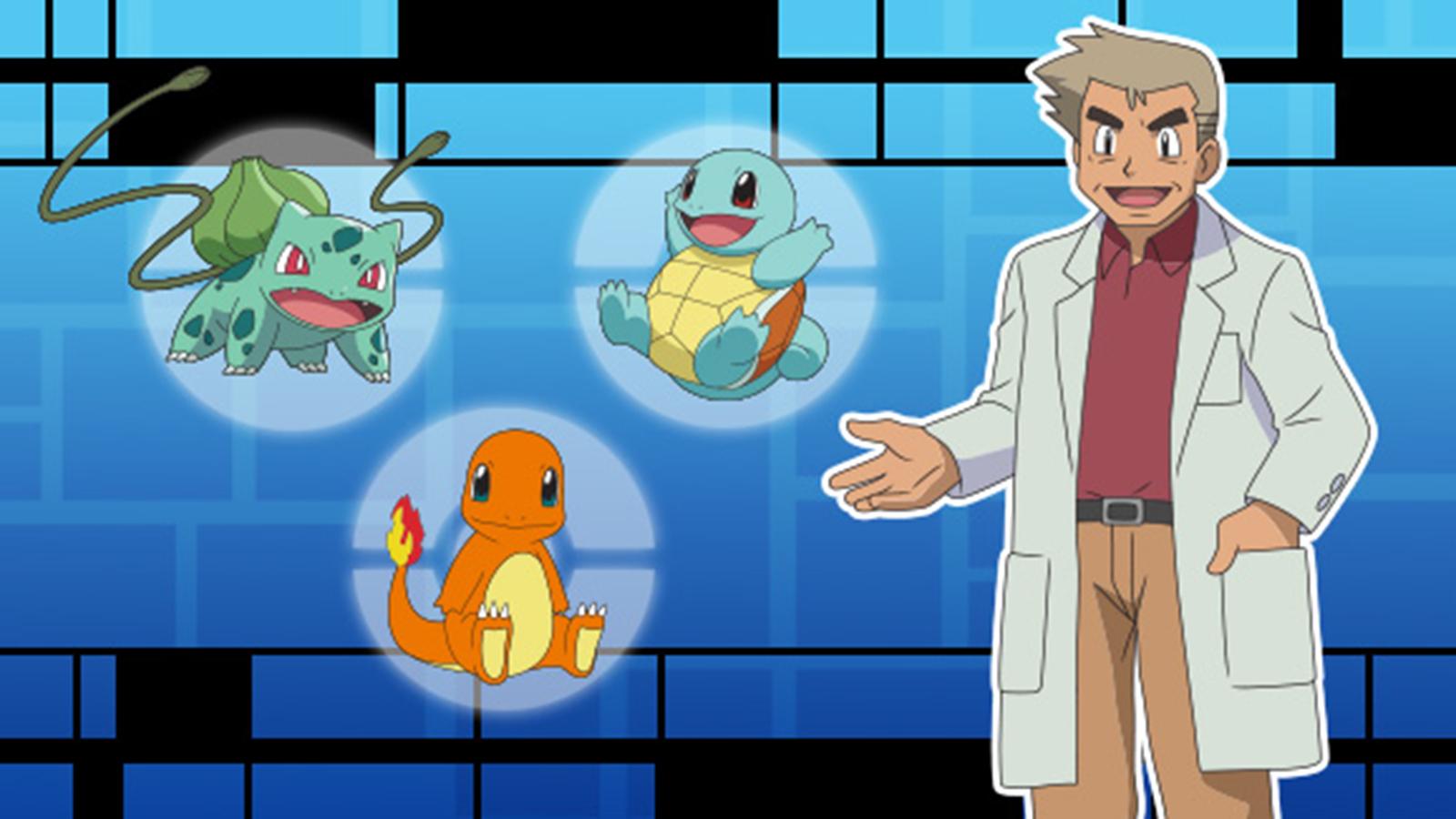 Profesor OAK y los iniciales de Pokémon Azul y Rojo