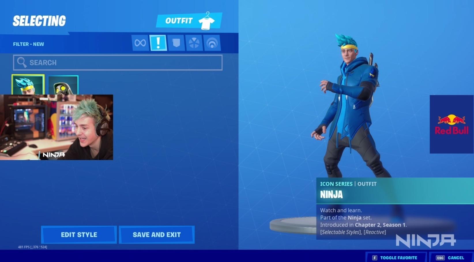 Ninja qui présente son skin sur Fortnite