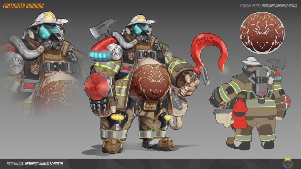 Concept art de Chopper en skin pompier