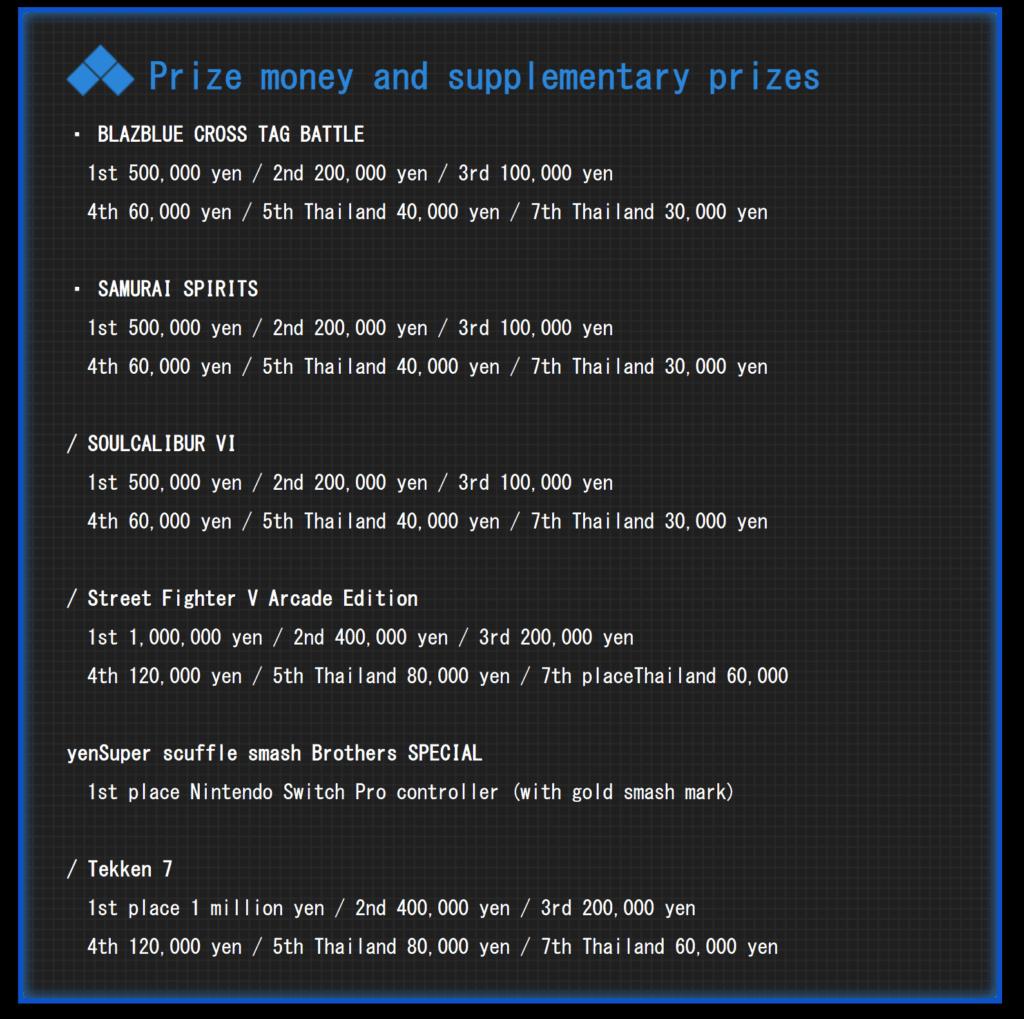 Liste des prix pour l'EVO 2020 au Japon