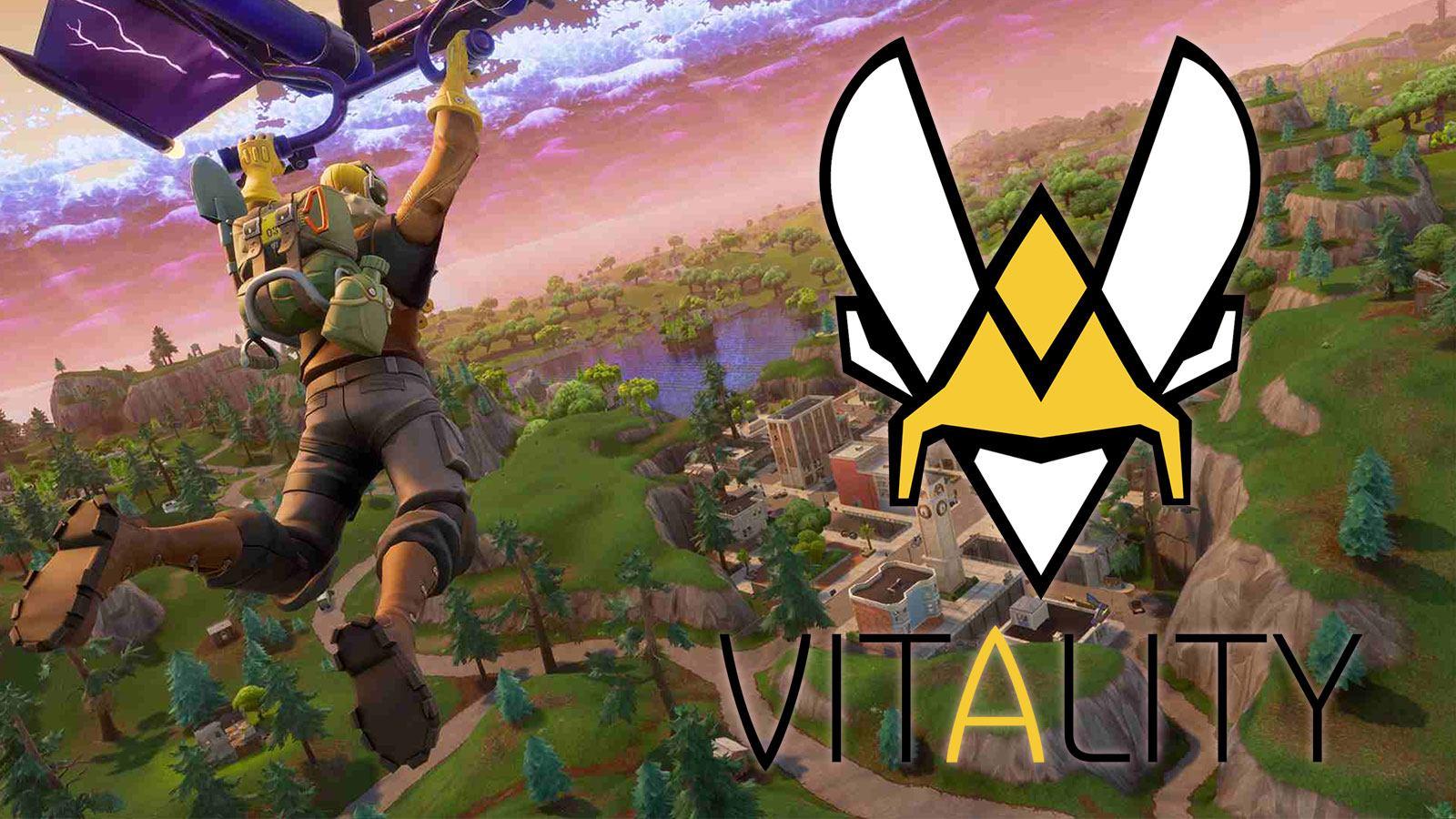 Logo de Vitality sur un paysage de Fortnite