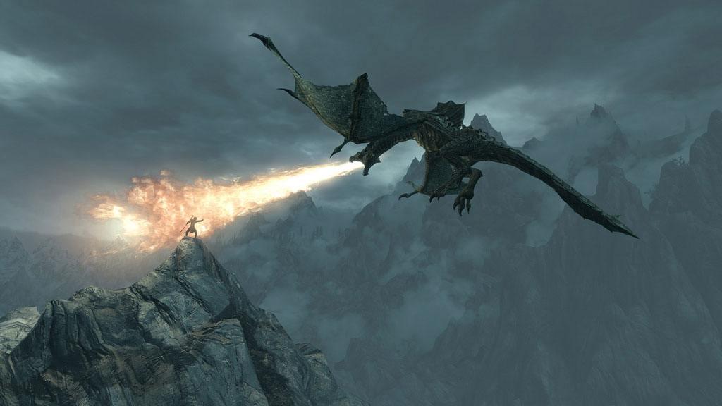 Combat contre un dragon dans TES5 Skyrim