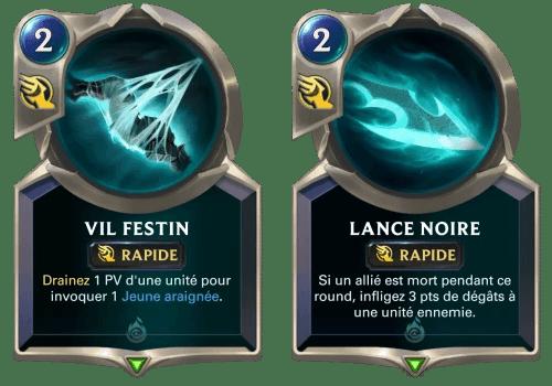 Les sorts Vil Festin et Lance Noire sur Legends of Runeterra