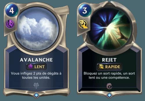 Les sorts Avalanche et Rejet sur Legends of Runeterra
